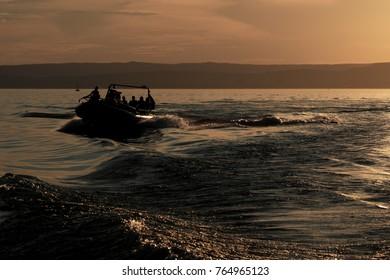 adrenaline cruise on a speed boat on the lake Balaton