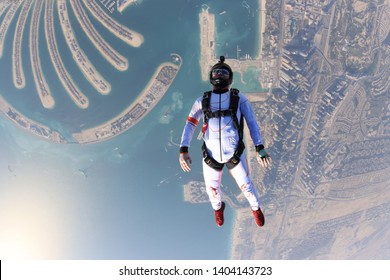 Adrenaline skydiving jump. Skydive Dubai. Fly above the palm