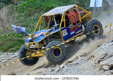 Adrenaline sports offroad cars drove across tracks in a competition, Tebing Breksi area, Yogyakarta,14/05/2017.
