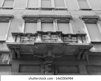 Adria, Italy. Art Deco style building from 1914. Black and white photo.