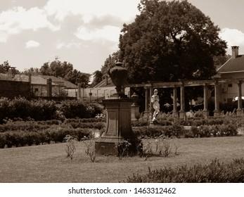 Adria, Italy. Giardino Scarpari, public park. Originally the Scarpari family's garden, they were later purchased by the Municipality. Sepia photo.