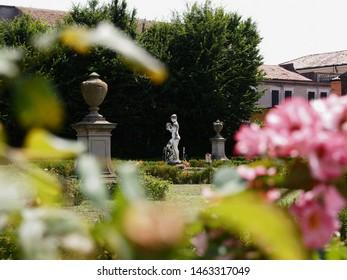 Adria, Italy. Giardino Scarpari, public park. Originally the Scarpari family's garden, they were later purchased by the Municipality. Detail, fountain.