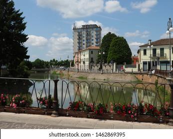 Adria, Italy. Historic centre. Ponte Castello, old bridge over the Canalbianco river.