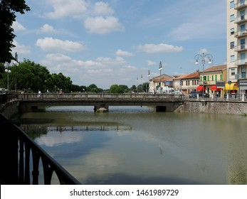 Adria, Italy - July 13, 2019. The Canal Bianco, waterway, and bridge.