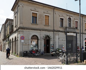 Adria, Italy - July 13, 2019. Historic centre. Headquarters of the Pro Loco, an association that has the purpose of promoting and developing the territory.