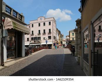 Adria, Italy - July 13, 2019. Historic center, road leading to Ponte Castello.