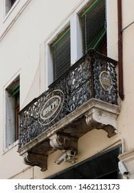 Adria, Italy - July 13, 2019. Historic center, facade of the town hall, balcony.