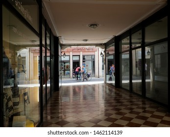 Adria, Italy - July 13, 2019. Galleria Barghin, shopping gallery, looking towards the street.