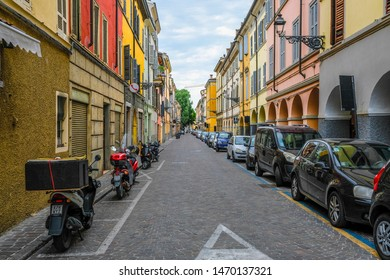 Adria, Italy - July, 7, 2019: cars parked on the street in Adria, Italy