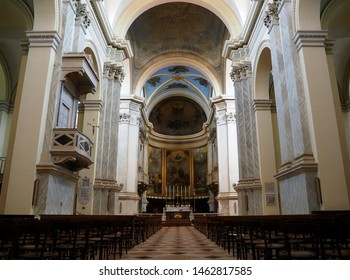 Adria, Italy - June 13, 2019. Cathedral, interior. The original church dates back to 2nd century, when the Roman Empire allowed the spread of Christianity. The present church is from the 19th century.