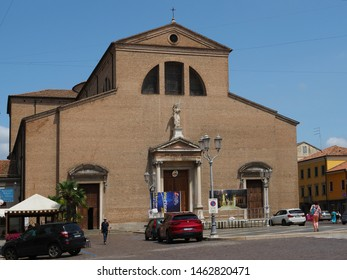 Adria, Italy - June 13, 2019. Cathedral. The original church dates back to 2nd century, when the Roman Empire allowed the spread of Christianity. The present church is from the 19th century.