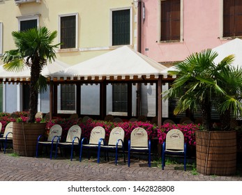 Adria, Italy - June 13, 2019. Old Town. Italian cafe in the cathedral square.