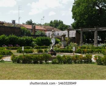 Adria, Italy - June 13, 2019. Giardino Scarpari, public park. Originally the Scarpari family's garden, they were later purchased by the Municipality.