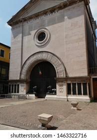 Adria, Italy - June 13, 2019. Former San Nicola da Tolentino Church, now a memorial to those killed in the war.