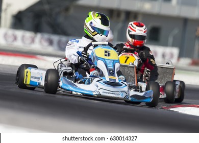 Adria, Rovigo (Italy) - October 1, 2016: Ricciardo Kart Racing Team, driven by Gonzalez Javier during eliminatory heat in the Wsk Final Cup in Adria Karting Raceway, Italy.