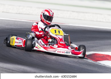Adria, Rovigo (Italy) - October 1, 2016: Kart Cz Team, driven by Podobsky Lukas during eliminatory heat in the Wsk Final Cup in Adria Karting Raceway, Italy.