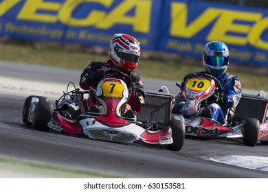 Adria, Rovigo (Italy) - October 1, 2016: DR srl Team, driven by Di Silvestre Moreno,  during eliminatory heat in the Wsk Final Cup in Adria Karting Raceway, Italy.