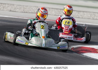 Adria, Rovigo (Italy) - October 1, 2016: Tony Kart Racing Team, driven by Armstrong Marcus during eliminatory heat in the Wsk Final Cup in Adria Karting Raceway, Italy.