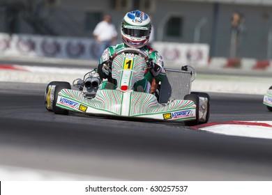 Adria, Rovigo (Italy) - October 1, 2016: Tony Kart Racing Team , driven by Ardigo' Marco,  during eliminatory heat in the Wsk Final Cup in Adria Karting Raceway, Italy.