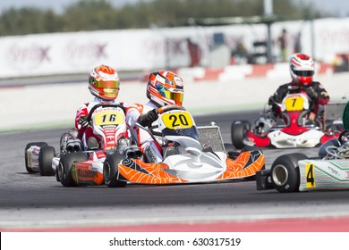 Adria, Rovigo (Italy) - October 1, 2016: Novalux Srl Team , driven by Iacovacci Francesco,  during eliminatory heat in the Wsk Final Cup in Adria Karting Raceway, Italy.