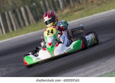 Adria, Rovigo (Italy) - October 1, 2016: Gregor Kart s.r.o. Team, driven by Kadlcak Jakub,  during eliminatory heat in the Wsk Final Cup in Adria Karting Raceway, Italy.