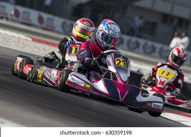Adria, Rovigo (Italy) - October 1, 2016: Hkc-1 Team, driven by Stanek Vladislav during eliminatory heat in the Wsk Final Cup in Adria Karting Raceway, Italy.