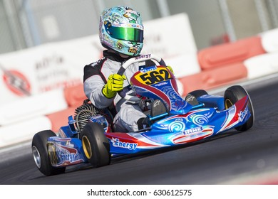 Adria, Rovigo, Italy - October 1, 2016: Giugliano Kart Team, driven by Pitulea Tudor,  during eliminatory heat in the Wsk Mini Final Cup in Adria Karting Raceway, Italy.