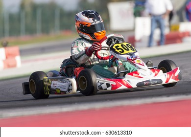 Adria, Rovigo, Italy - October 1, 2016: Revolution Motors Team, driven by Cecchi Federico,  during eliminatory heat in the Wsk Mini Final Cup in Adria Karting Raceway, Italy.