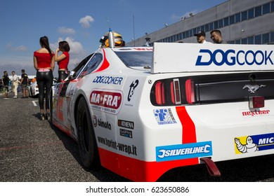 Adria, Rovigo, Italy - September 17, 2016: Double T by Nocentini Team, driven by Gabbiani Gian,  during race at the Nascar Whelen Euro Series Elite 1 in Adria International Raceway.