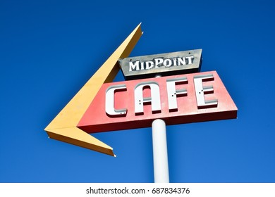 ADRIAN, TEXAS - JULY 21: Midpoint Cafe Route 66 on July 21 2017 in Adrian. Midpoint between Chicago and Los Angeles in the historic Route 66.
