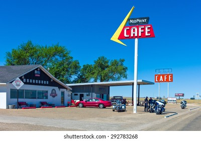 Adrian, U.S.A. - May 21 2011: Texas, the Mid Point Cafe on the Route 66