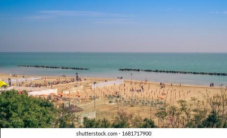 Adriatic beach in springtime. Lido di Savio, Ravenna province, Emilia-Romagna, Italy.