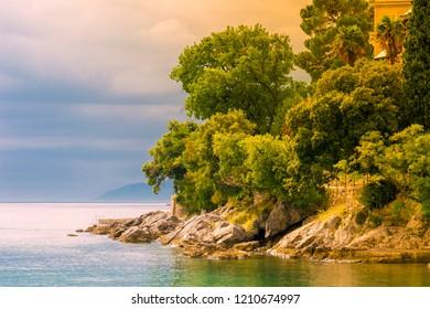 Adriatic coast in autumn Autumn on the Adriatic Sea . Lungomare coast famous walkway in Opatija, Kvarner bay, Croatia.