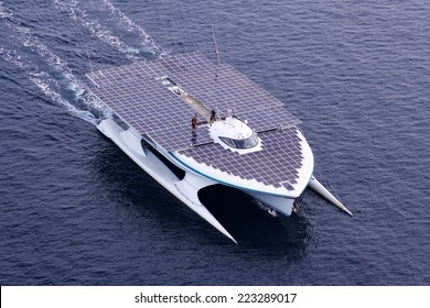 ADRIATIC SEA - AUGUST 31: Turanor Planet Solar biggest solar powered boat in the world in navigation, at open sea, on August 31, 2014 in Adriatic sea, Croatia.