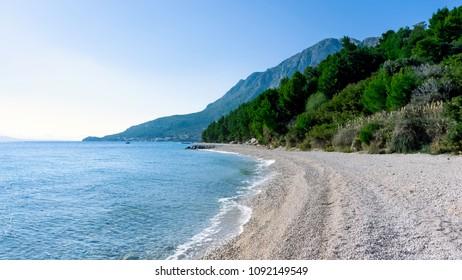 Adriatic Sea, beach and forest - Podgora, Makarska Riviera, Dalmatia, Croatia