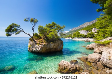Adriatic sea in Brela on Makarska Riviera, Dalmatia, Croatia
