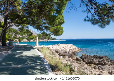 Adriatic Sea coast near Brela, beautiful blue lagoon, Makarska Riviera, Punta Rata beach, Croatia
