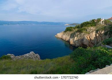 Adriatic Sea coast view from Vrbnik, Island of Krk, Croatia.