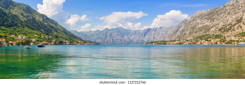 Adriatic sea coastline, boka-kotor bay near the city Kotor, Mediterranean summer seascape, nature landscape, vacations in the summer paradise, panoramic view.