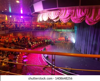 Adriatic sea, Costa Cruise, 23.4.2019: People sitting in theatre on Costa Cruise and waiting for start performance. Luxury theatre on big cruise ship.