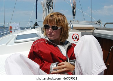 ADRIATIC SEA, CROATIA - MAY 19: Brigitta Palcso hungarian media star on the Republic Cup Yacht competition on May 19, 2003 in Croatia.