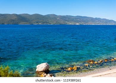 The Adriatic Sea in summer at Viganj, Croatia