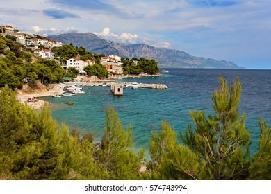 Adriatic sea at sunset  - Makarska Riviera (nearby Makarska), Dalmatia, Croatia .