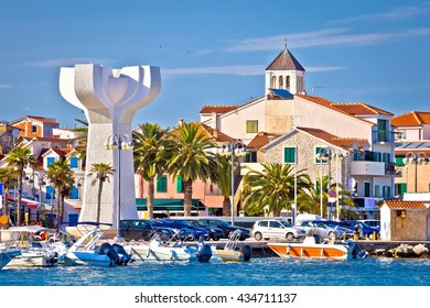 Adriatic town of Vodice view, tourist destination in Dalmatia, Croatia