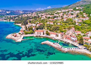 Adriatic village of Mlini waterfront aerial view, Dubrovnik coastline of Croatia
