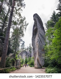 Adrspach, Czech Republic - August 16, 2018: Tourists visit and enjoy views of famous sandstone rock towers of Adrspach and Teplice Rocks , Adrspach National Park in Czech Republic