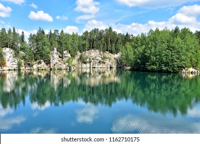 adrspach lake in adrspach national park in czech republic