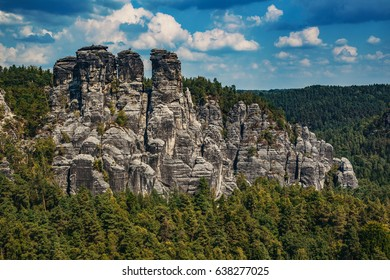 Adrspach-Teplice rocks in Czech summer landscape