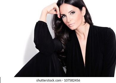 adult beautiful black hair stylish woman portrait studio shot