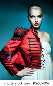 adult beautiful blonde woman in red jacket with red lips